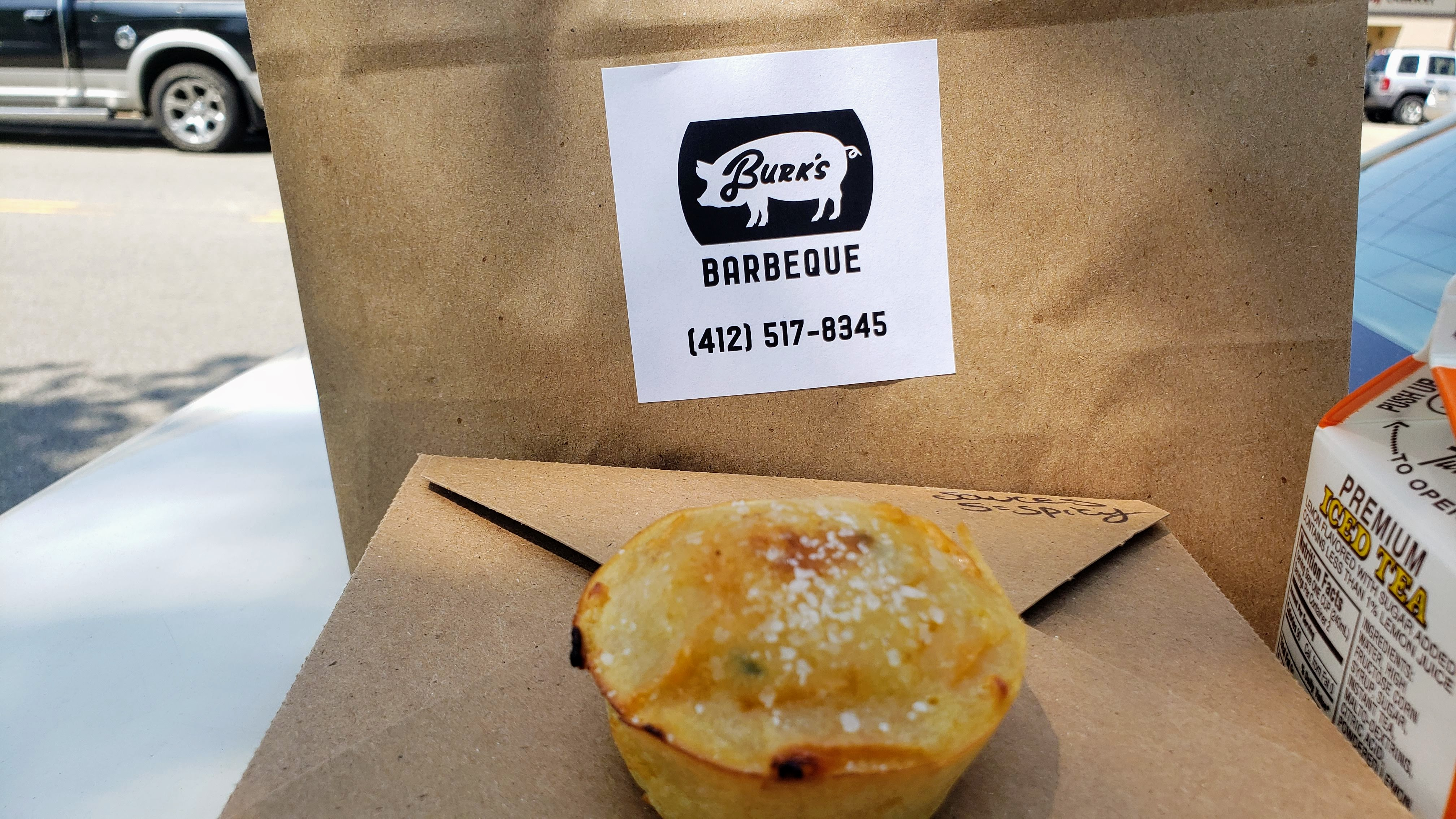 Burk's Barbeque jalapeno cheddar corn muffin