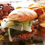Pork and Beans Brisket Sandwich